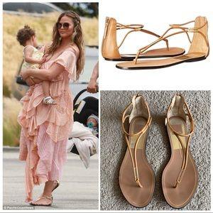 Dolce Vita Strappy Nude & Gold Sandals 8